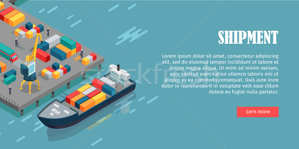 Port Warehouse Shipment Banner. Cargo Containers Stock photo © robuart