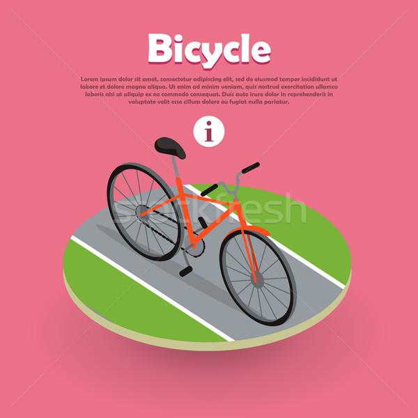 Bicycle Icon Isometric Design on Road Web Banner. Stock photo © robuart