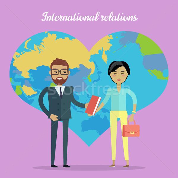 Uluslararası ilişkileri dizayn vektör işbirliği kafkas Stok fotoğraf © robuart