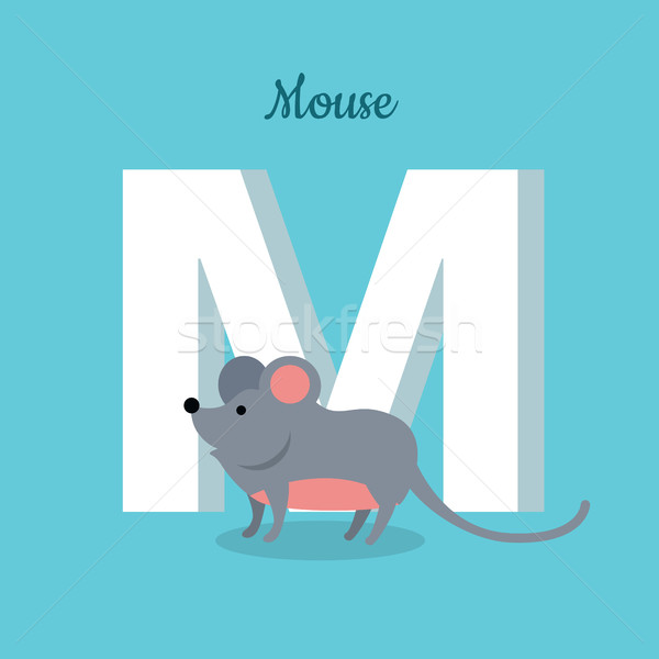 Mouse with Letter M Isolated. ABC, Alphabet. Stock photo © robuart