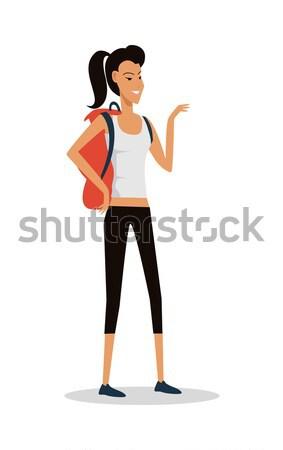 Uśmiechnięty młoda dziewczyna szorty plecak wektora pełny Zdjęcia stock © robuart