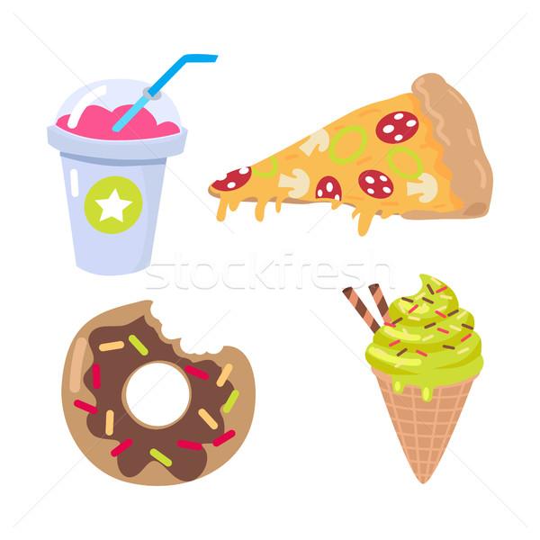 Smoothie pièce pizza donut cornet de crème glacée ensemble Photo stock © robuart