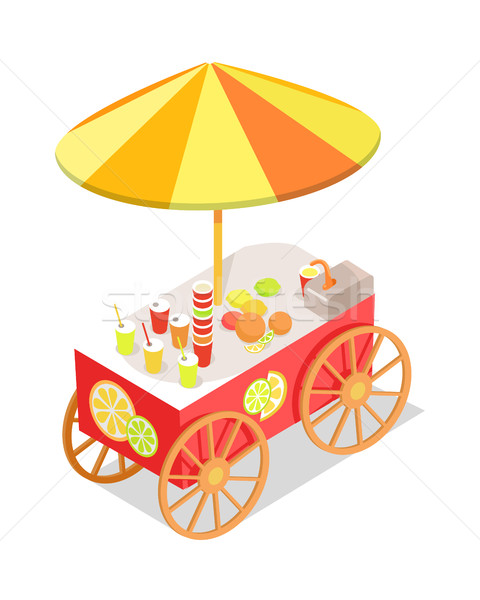 Fresh Citrus Juice Trolley in Isometric Projection Stock photo © robuart