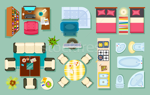 Flat Interior Top View. Pieces of Furniture Design Stock photo © robuart