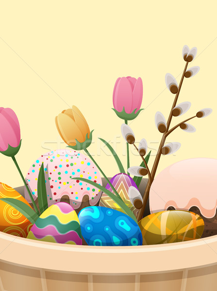 Stock photo: Set of Easter Cake, Color Eggs, Flowers and Willow