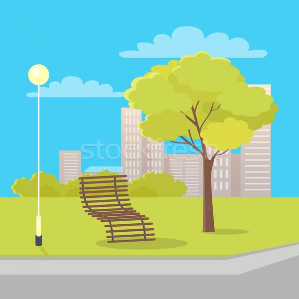 Isolado madeira banco lanterna árvore parque Foto stock © robuart