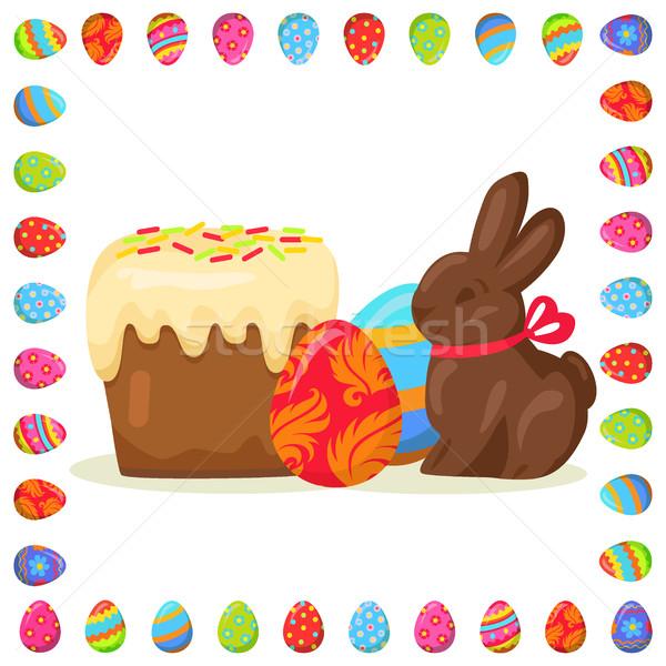 ízletes húsvét csemegék illusztráció tojások keret Stock fotó © robuart