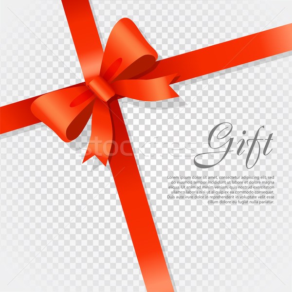 Gift Red Wide Ribbon. Bright Bow with Two Petals Stock photo © robuart