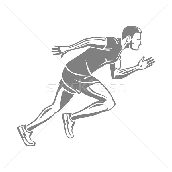 Silhouette of Isolated Running Male on White. Stock photo © robuart