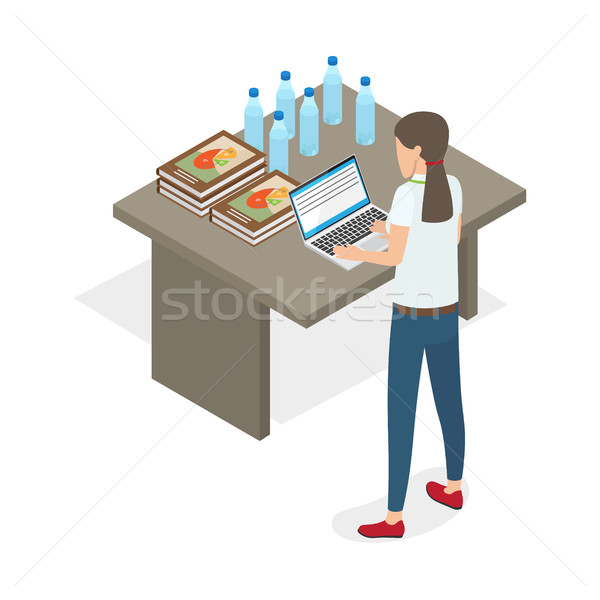 Businesswoman Standing and Practicing on Computer Stock photo © robuart