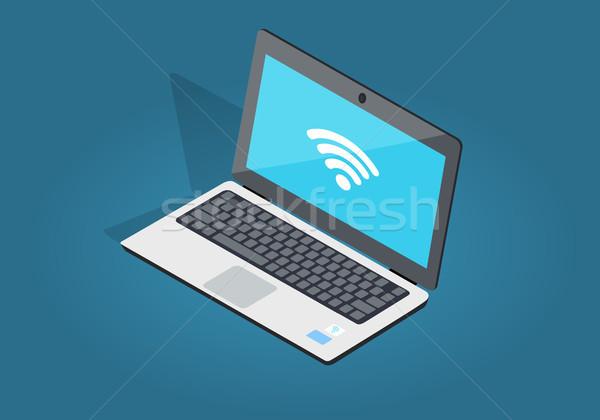 Otwarte laptop wifi związku cień odizolowany Zdjęcia stock © robuart