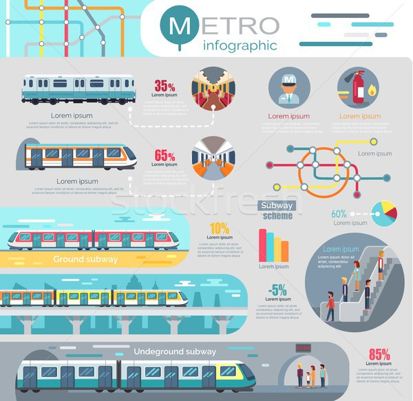 Metro Infographic with Statistics and Schemes Stock photo © robuart