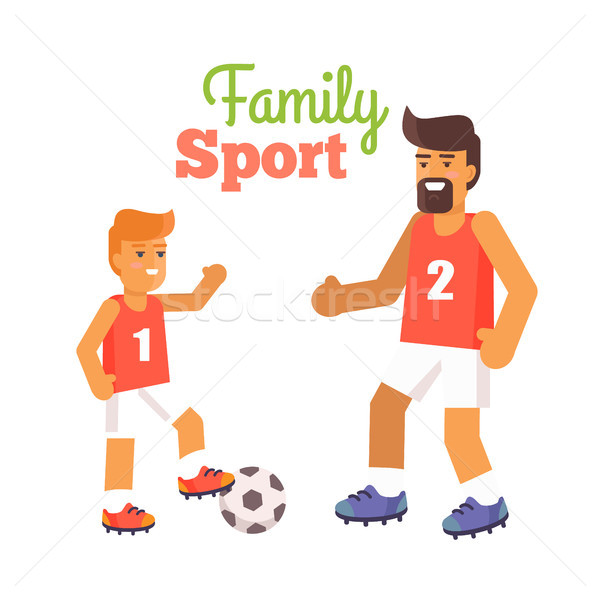 Happy Fathers Day Poster with Son and Dad Vector Stock photo © robuart