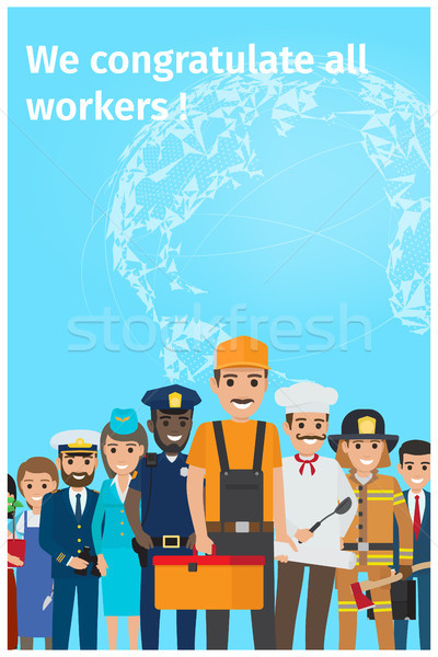 Stock photo: We Congratulate All Workers Greeting Postcard
