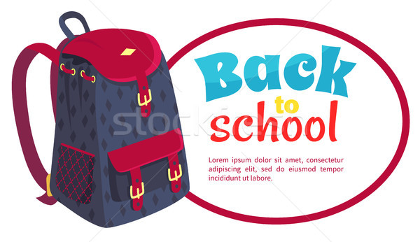 Back to School Poster with Fashionable Backpack Stock photo © robuart