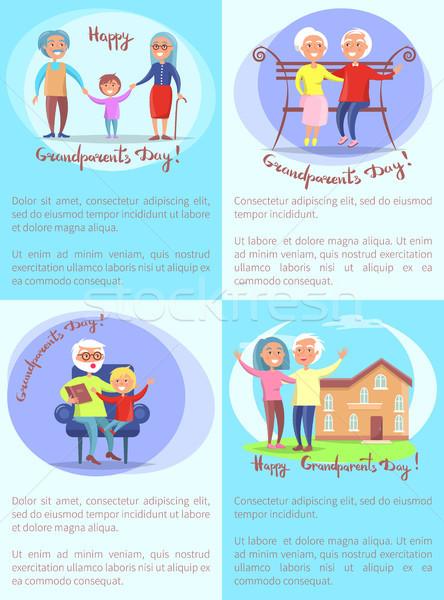 Boldog nagyszülők nap szett plakátok szöveg Stock fotó © robuart