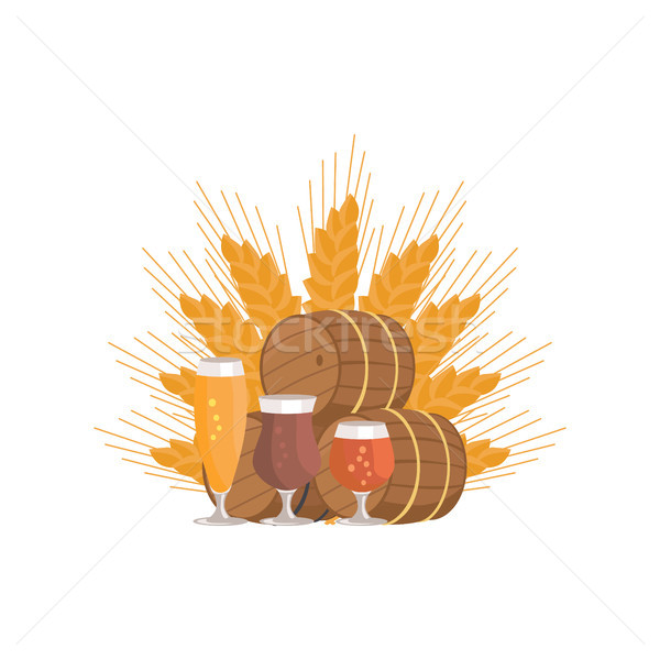 Beer Digustation at Octoberfest Vector Illustation Stock photo © robuart