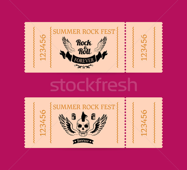 Summer Rock Fest Tickets Isolated on Dark Pink Stock photo © robuart