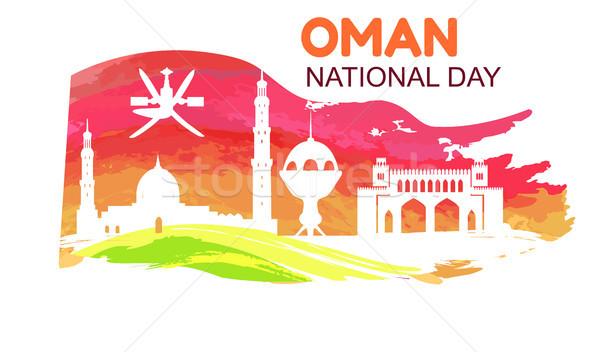 Umman gün simge ülke bayrak siluetleri Stok fotoğraf © robuart