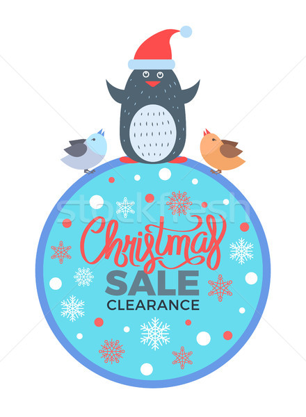 Christmas Sale Clearance Poster with Penguin Birds Stock photo © robuart