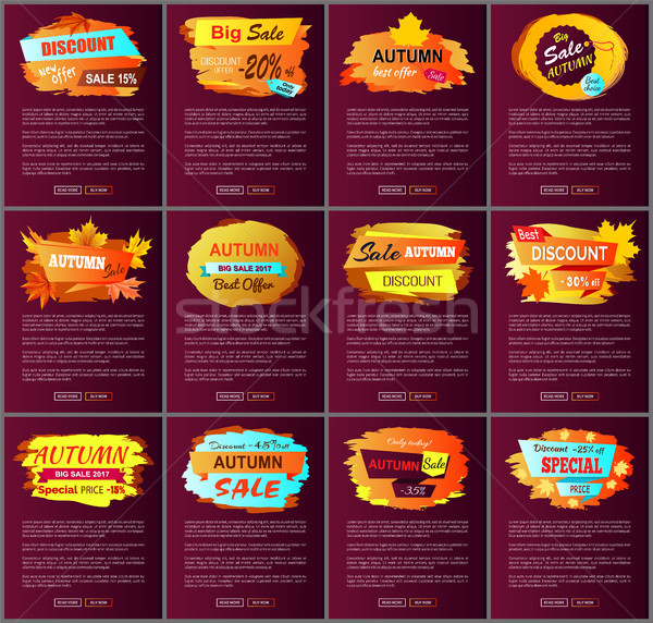 Fall autumn Sale Posters Promo Advertising Labels Stock photo © robuart