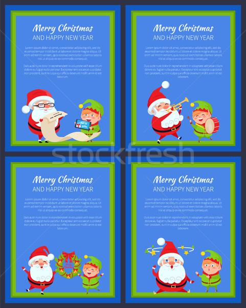 Conjunto ano novo banners papai noel elfo vermelho Foto stock © robuart