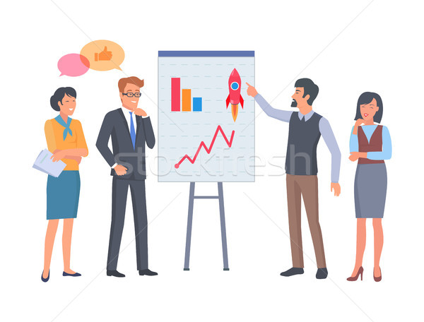 Mann Frau Coaching Diagramm Plakat Business Stock foto © robuart