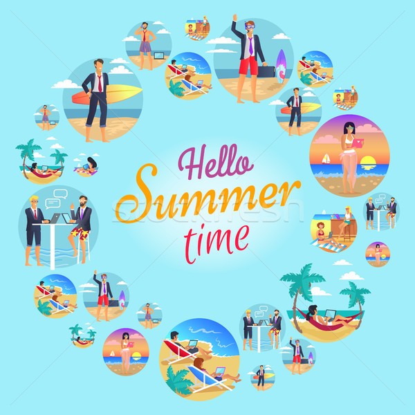 Hola verano tiempo circular anunciante titular Foto stock © robuart