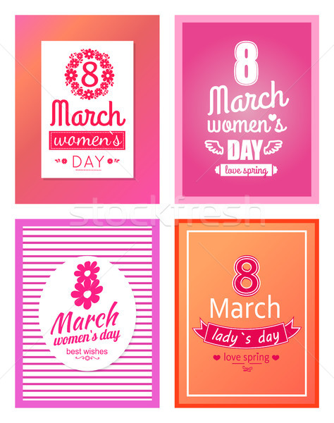 Set of Posters Dedicated to 8 March Best Wishes Stock photo © robuart