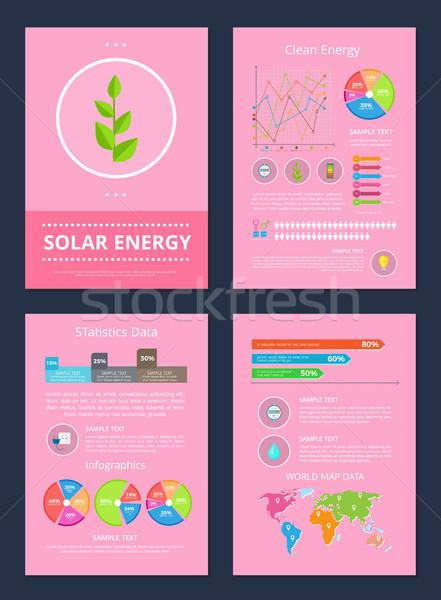 солнечной Чистая энергия набор Мир карта данные Сток-фото © robuart