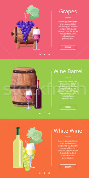 Grapes White Wine Barrel Online Posters Set Vector Stock photo © robuart