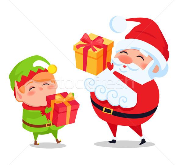 Kerstman elf helper presenteert handen ansichtkaarten Stockfoto © robuart