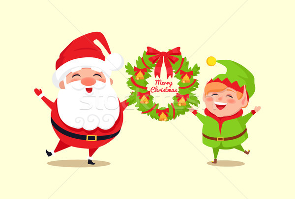 Alegre Navidad felicitación elfo icono Foto stock © robuart