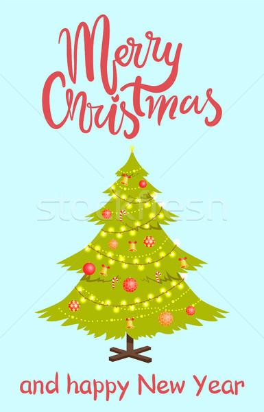 Alegre Navidad pino hojas perennes decorado Foto stock © robuart