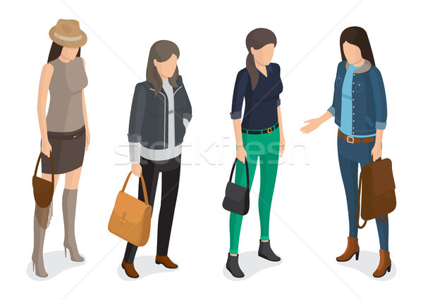 Women Collection of Model in Modern Autumn Apparel Stock photo © robuart