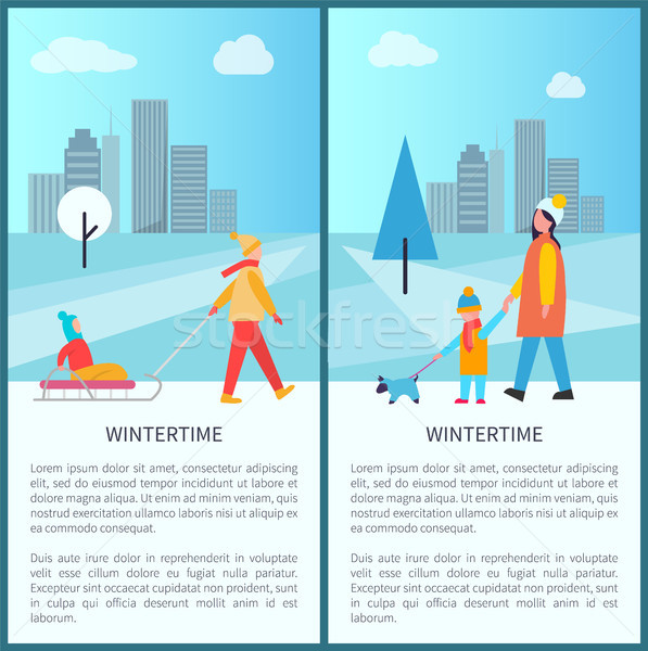 Wintertime City Activities Vector Illustration Stock photo © robuart