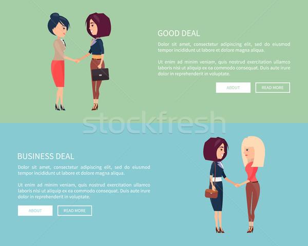 Jó üzlet üzlet plakátok két nő szett Stock fotó © robuart