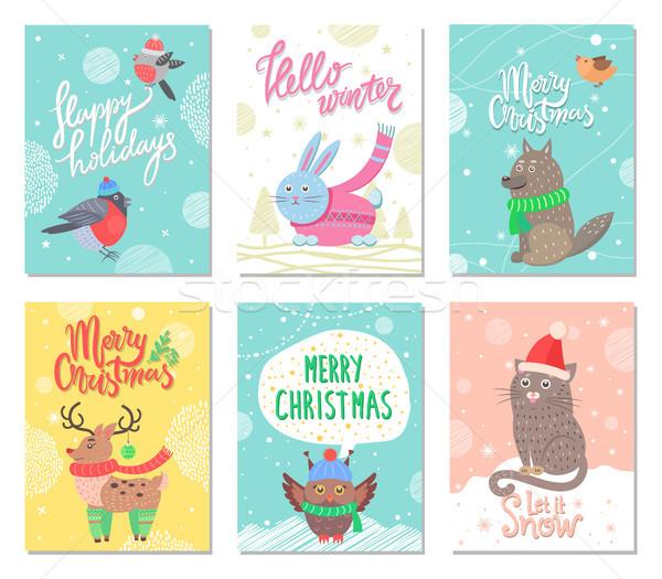 счастливым праздников веселый Рождества набор плакатов Сток-фото © robuart
