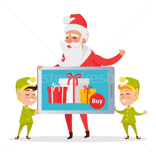 Christmas Sale Greeting Card with Santa and Elves Stock photo © robuart