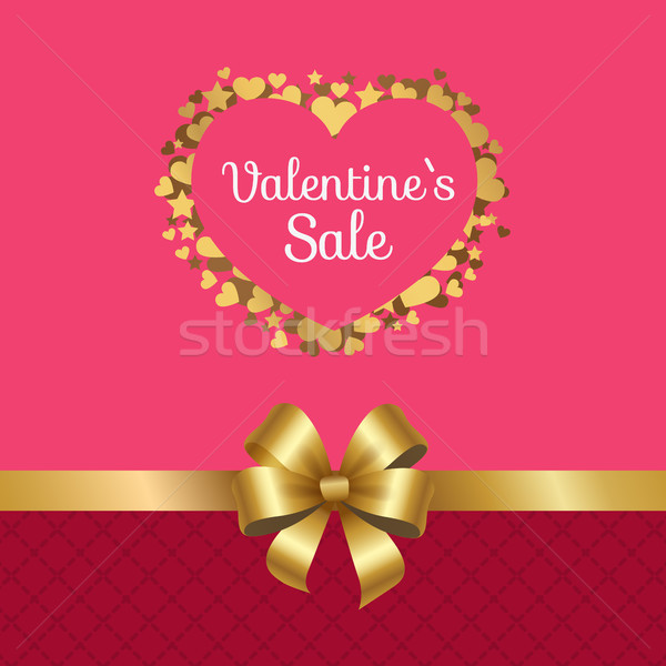 Valentines Sale Poster Heart Made of Golden Stars Stock photo © robuart