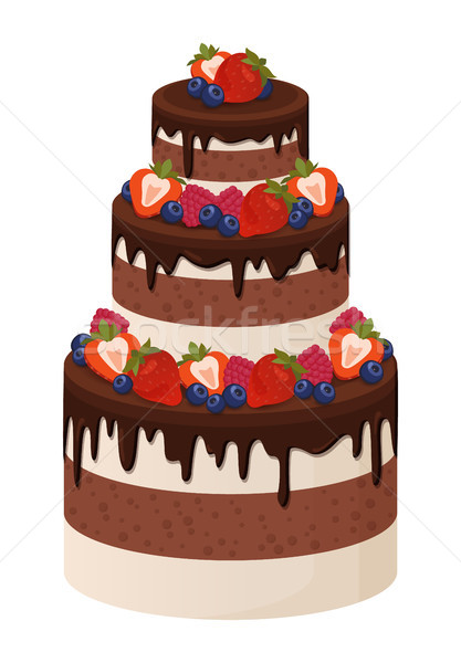 Three-Tier Cake with Chocolate and Cream Layers Stock photo © robuart