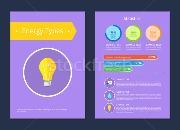 Energia statisztika minta szöveg színes kártya Stock fotó © robuart