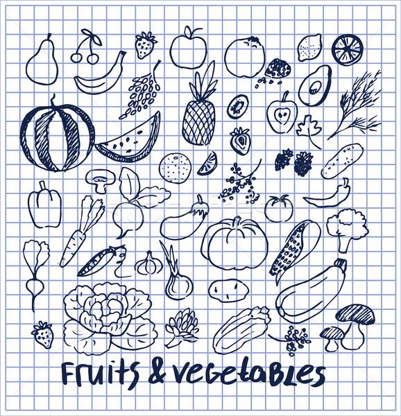 Früchte Gemüse Set Hand gezeichnet Elemente Sammlung Stock foto © robuart