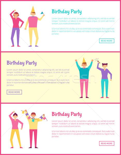 Három születésnapi buli kártyák szín rózsaszín keret Stock fotó © robuart