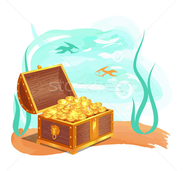 Gold Treasures in Wooden Chest at Ocean Bottom Stock photo © robuart