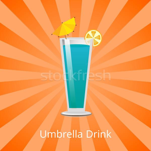Umbrella Drink Blue Lagoon Decorate by Lemon Slice Stock photo © robuart