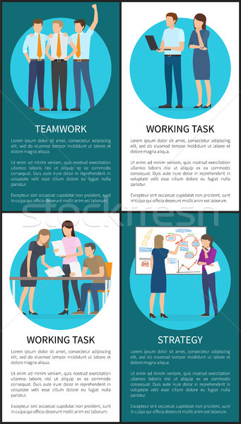 Teamwork and Working Task Vector Illustration Stock photo © robuart