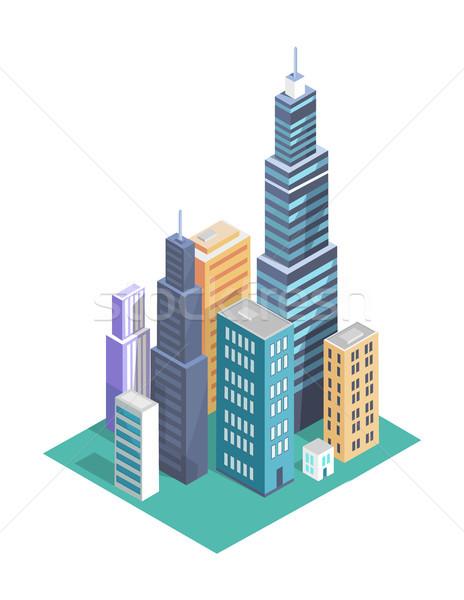 Budynku zestaw wieżowce plakat miasta miejskich Zdjęcia stock © robuart