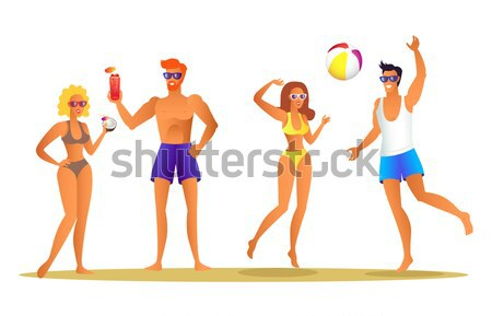 Happy Couple at Summer Man in Shorts and Glasses Stock photo © robuart