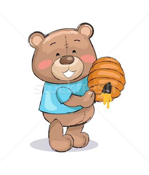 Male Teddy Bear in Blue T-shirt Holding Hive Honey Stock photo © robuart